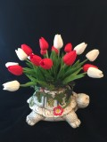 Ceramic turtle with red & white tulips